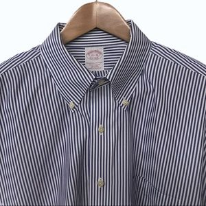 BROOKS BROTHERS Non-Iron 17.5 - 6/7 Blue & White
